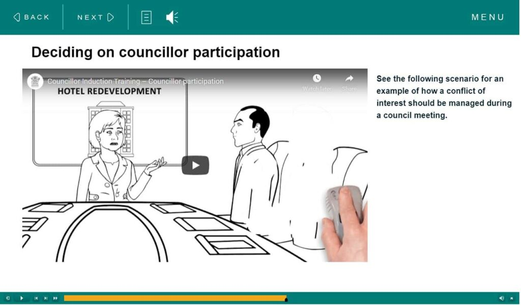 DLGRMA Councillor Induction course screen shot VMP eLearning
